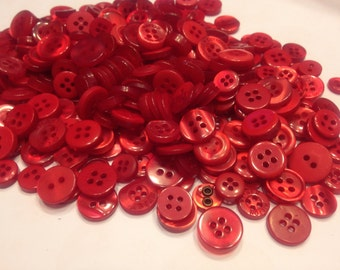 50 piece small to tiny red assorted acrylic button mix, 7-14 mm (38)