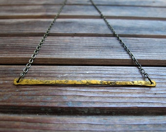 Singular - Hand forged brass bar Necklace - Artisan Tangleweeds Jewelry