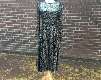 1980's party dress silver and black lace, medium womens dress, vintage 80's party dress, silver and black party dress, black lace dress