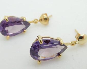 Solid 14K Yellow Gold Pear Shaped Amethyst Dangle Butterfly Earrings; sku # 3172