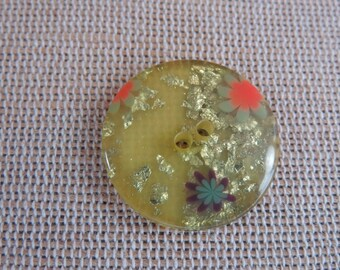4pcs round buttons, floral buttons, flowers and buttons 23mm, yellow buttons, button holes, buttons UnionKnopf sewing buttons