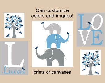 elephant nursery decor prints or canvases elephant wall prints tan and light blue LOVE personalized nursery elephant tree and birds