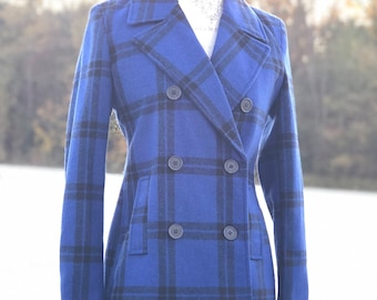 vintage womens plaid peacoat | vintage plaid | womens peacoat | plaid jacket