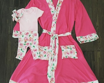 Mommy and me matching robe set