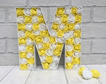 Yellow and white decor, Gift for best friend, Birthday gift for friend, Yellow rose decor, Yellow floral letters, Large letter M, Home decor
