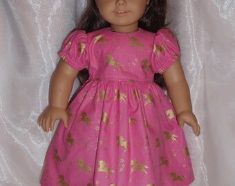 """18 Inch Doll Pink and Gold Cotton Unicorn Print Dress,  18"""" Doll Clothes, AG Doll Clothes, Girl Doll Clothes"""
