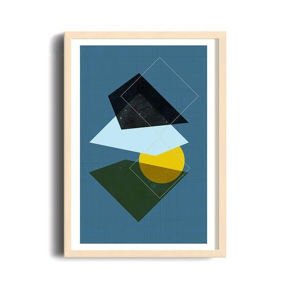 MÉLI MÉLO // poster Abstract, 12x18, minimalist art print, geometric print, mid century, bleu, circles