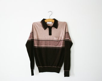 vintage 70s Freaks and Geeks Chocolate Brown Striped Knit Sweater