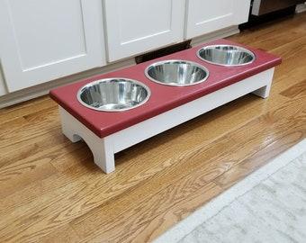 Small 3 Bowl Dog Feeder, Personalized Dog Feeder, Raised Pet Feeder,  Dog Feeder with Name, Elevated Pet Feeder, Custom Dog Feeder, Pet Gift