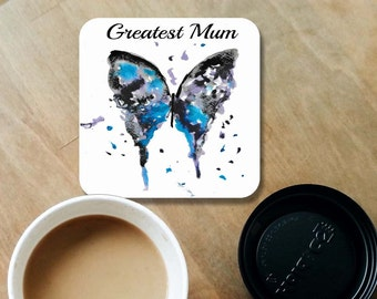 Mum coaster, wooden coaster, butterfly coaster, butterfly lover, table coaster, drink coaster, tile coaster, housewarming gift, mum gift