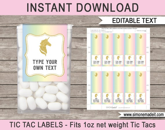 unicorn theme party favors printable tic tac labels. Black Bedroom Furniture Sets. Home Design Ideas