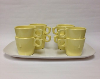 Vintage Atomic Retro PROLON WARE stackable cup set Melmac Melamine