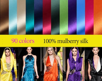 16mm 114cm width 90 solid colors 100% mulberry silk satin / charmeuse by half meter (61#--90#)DF995