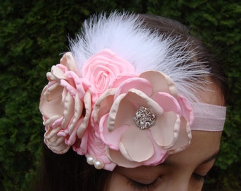 Girls Headband Baby Headband newborn headband Flower Headband elastic feather Headband flower Headband with rhinestone fancy headband