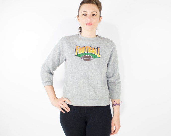 Vintage 90s Football Sweatshirt | Show Your Spirit for FOOTBALL | Crop Pullover Top | Womens Size Small | Grunge | Sports