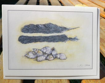 Shells and Feathers Card, Art Card, Illustration