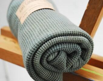 Organic Thermal Cotton Blanket - Light Weight, Hand Dyed, Organic Baby Blanket - Muir Green