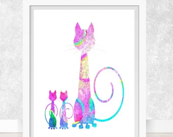 Cat and Kittens  Art Print, Poster, Wall Art, Home Decor, Kids Wall Art, Play Room Wall Art, Nursery Wall Art, Archival print
