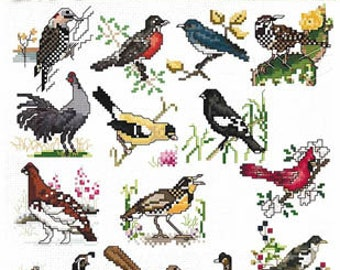 NEW! STONEY CREEK State Birds counted cross stitch patterns at thecottageneedle.com