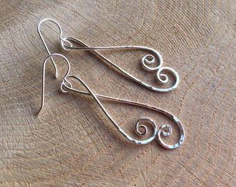 Long Silver Spiral Earrings Hammered Argentium Sterling