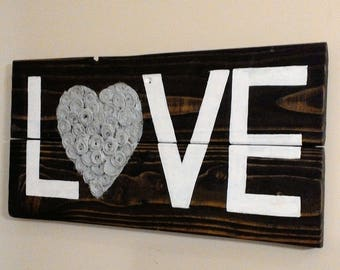 Love Pallet Sign, Rustic Wood Signs, Home Decor, Reclaimed Wood, Wedding Gift, House Warming, Anniversary, Newly Weds, Pallet Sign, Hearts