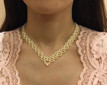 Tatting lace necklace / bracelet pdf pattern (Blanche)
