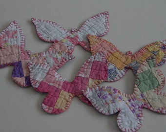ornaments butterfly Vintage antique cutter quilt ornaments pastels pink blues reds purples yellow fun whimiscal home decor