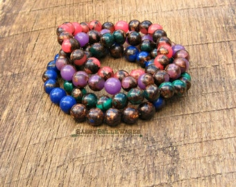 As Seen on Stephanie Drapeau Jewel Tone Gemstone Bracelets Build Your Own Stack pink purple blue green lapis malachite serpentine bronzite