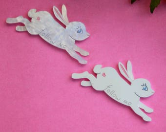 Laser Cut Acrylic Brooch - Follow the White Rabbit - handmade plastic easter pin - choice of colours