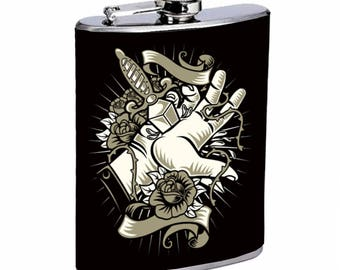 Sooku Design Stainless Steel Flask 8oz with Beautiful T-shirt Design Sacrifice