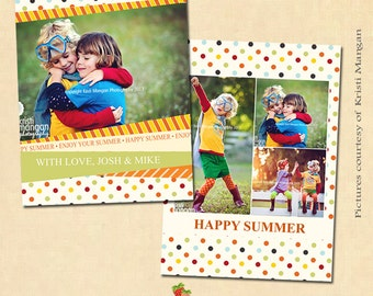 INSTANT DOWNLOAD - Flat Card Photoshop templates - Happy Summer - CA148