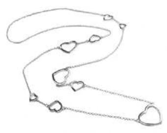 Long Contemporary 9 Heart Necklace