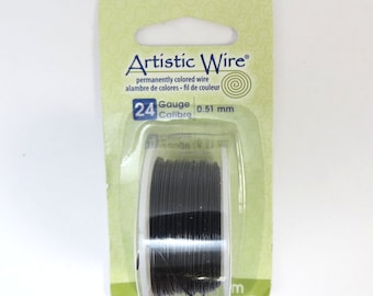 Black Wire, Artistic Wire, 24 Gauge Black Beading Wire, 10 Yard Spool Black Wire for Jewelry Making, Craft Wire, Item 511wr