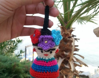 Frida Kahlo Amigurumi keychain - knitted toys