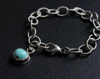"""READY TO SHiP- Royston Turquoise Textured Chain Link Sterling Silver Bracelet #001 