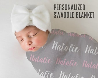 Personalized Baby Blanket Monogrammed Baby Blanket Name baby Blanket Swaddle Receiving Blanket Baby Shower Gift Photo Prop