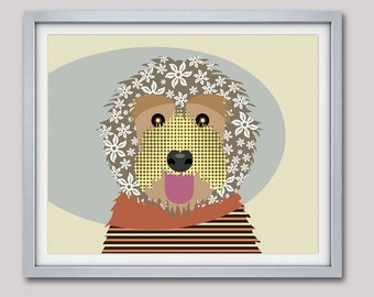 Labradoodle Art Print, Dog Art Labradoodle, Illustrated Dog Art, Labradoodle Decor,  Labradoodle Gift, Dog Portrait