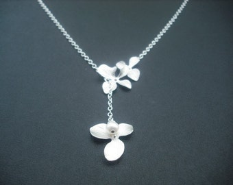 orchid flowers lariat - white gold plated