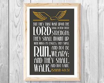 "ISAIAH 40:31 - Lrg 11"" x 17"" Print, Christian Wall Art Decor, Inspirational Scriptures, Religious Gift, Bible Verse, Holy Spirit, God Gifts."