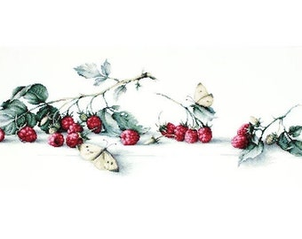 Raspberries with Butterfly SB2253 - Cross Stitch Kit by Luca-s