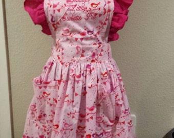 Daddy's Little Sweetie Pie valentines apron...pink birdies