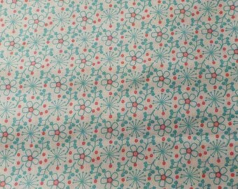 Pink and Aqua Blue Tiny Flowers  Fabric, Cotton Fabric, Clothing Fabric, Sewing Fabric, Quilting Fabric, Crafting Fabric, #344