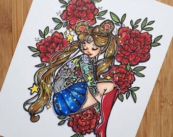 Tattooed Moon Princess - 8x10 Inch Sailor Moon Inspired original ink and Marker Illustration