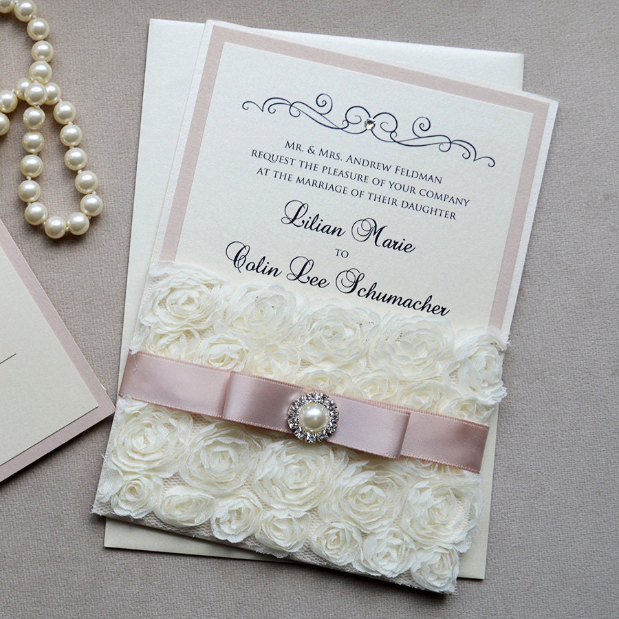 LILIAN Rosette Lace Wedding Invitation Blush & Ivory