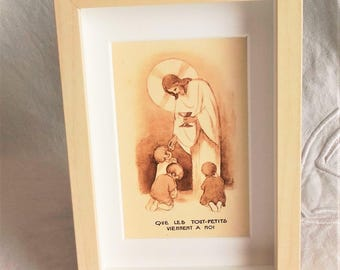 Frame standing - children come to me - or to hang with vintage imagery