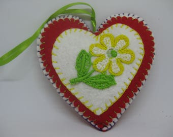 Felt Heart Christmas Ornament