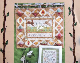 Happy Easter Wallhanging And Stitchery By Bareroots Hand Embroidery Pattern Packet 2006
