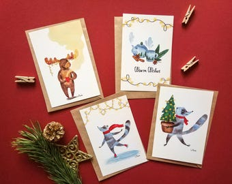 Set of 4 winter postcards and kraft envelopes • illustrated Christmas postcards • greeting cards • holiday cards • holiday racoones