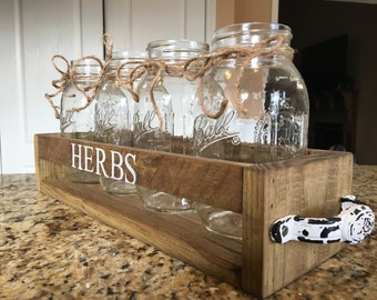 Herb garden, indoor garden, mason jar table top, mason jar centerpiece, herbs, herb, indoor garden, country decor, rustic decor, farmhouse