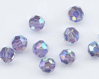 Twelve rare Swarovski crystals: art 5000 - 8 mm -tanzanite AB 2X